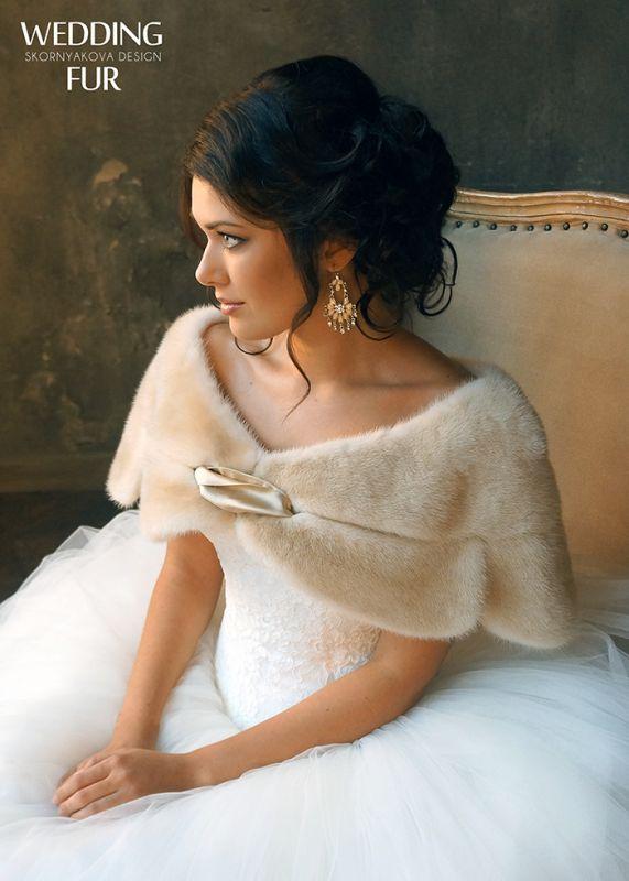 Свадебные меховые накидки: норковая накидка айвори