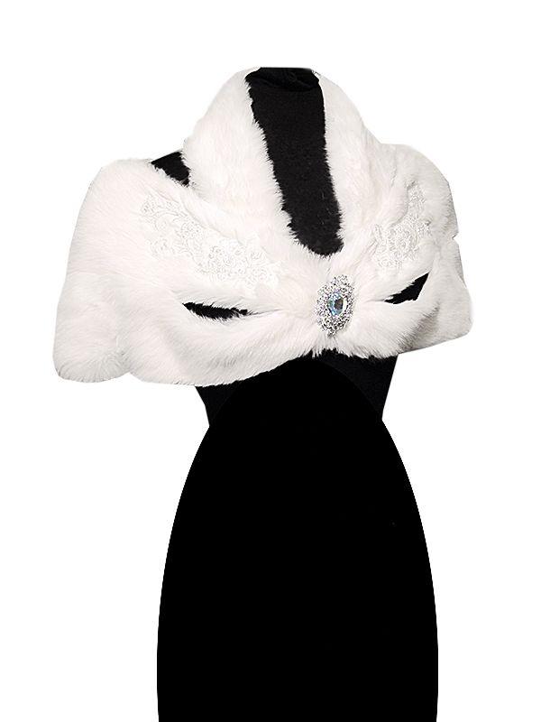 Свадебная накидка из натурального меха кролика
