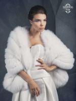Белая меховая накидка из песца качества luxe Saga Royal