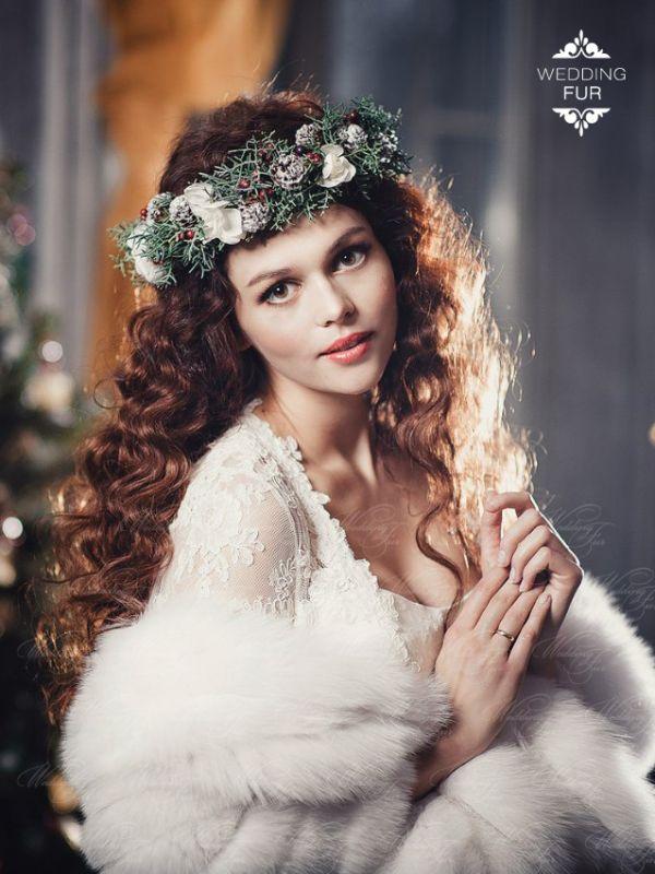 Свадебный палантин из белого песца